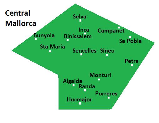 Map of Central Mallorca