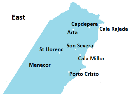 Map of Eastern Mallorca