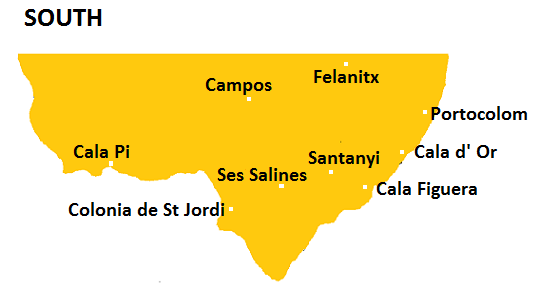 Map of Southern Mallorca