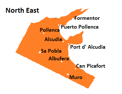 Map of North-Eastern Mallorca
