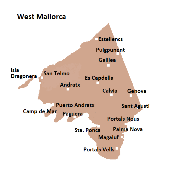Map of Western Mallorca